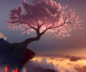 tree, pink, and clouds image