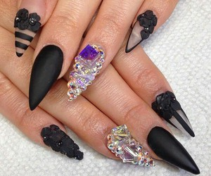 sexy, matteblack, and nailart image