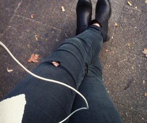 black, ripped jeans, and grunge image
