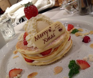 pancakes, strawberry, and cake image