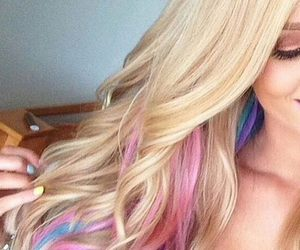 beautiful, colorful hair, and girl image