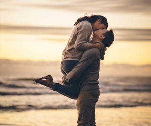 beach, hug, and sea image