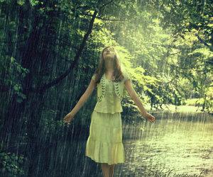 girl, rain, and raining image
