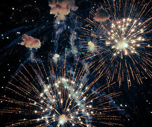 fireworks, night, and sky image