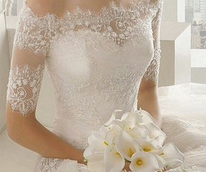 wedding dress, wedding, and love image