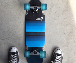 blue, longboard, and skate image