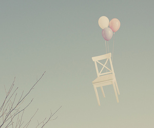 balloons, chair, and sky image