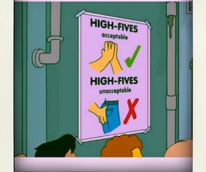 lol, the simpsons, and high fives image