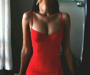 red, dress, and sexy image
