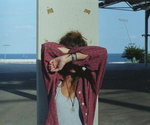 beach, girl, and brunette image