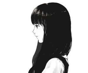 anime, girl, and black and white image