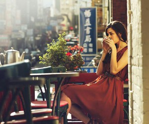 girl, coffee, and dress image