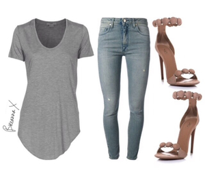 grey, heels, and jeans image