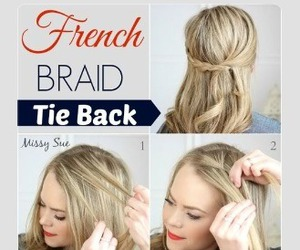 blonde, hairstyle, and french braid image