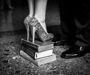 love, book, and heels image
