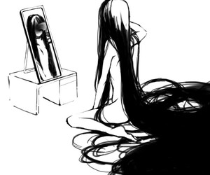 anime and black and white image