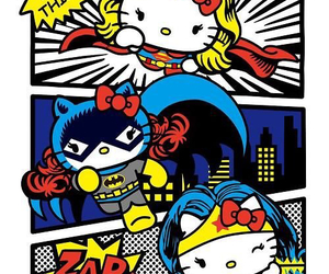 hello kitty, batman, and superman image