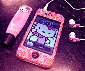 hello kitty, pink, and iphone image