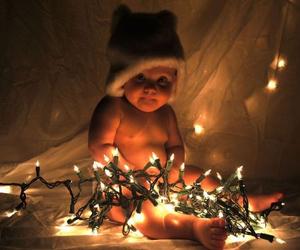 baby, christmas, and lights image