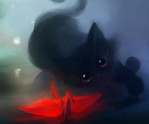 cat, black, and red image