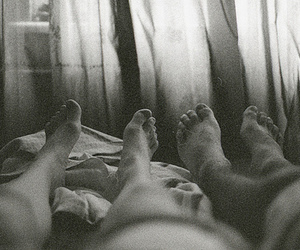 feet, black and white, and couple image