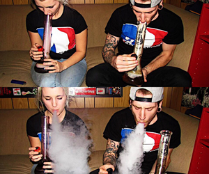 bong, couple, and happy image