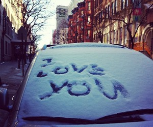 love, snow, and car image