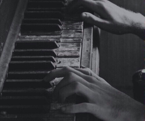 black and white, grunge, and piano image