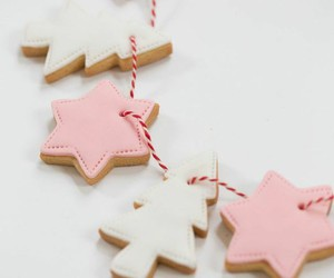 christmas, pink, and stars image
