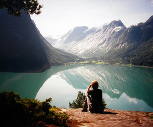 mountains, lake, and boy image