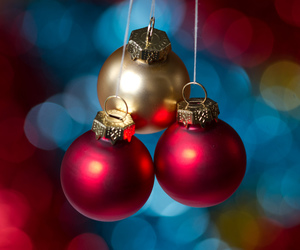 baubles, blue, and bokeh image
