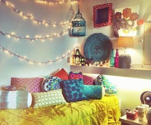 bedroom, lights, and room image