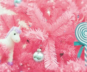 pink, christmas, and unicorn image