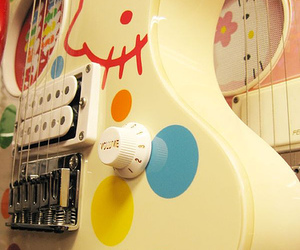 guitar, hello kitty, and music image