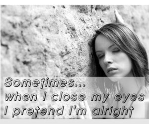 closed eyes, echo, and lyric image