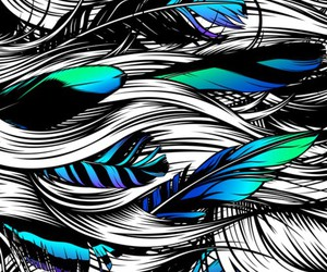 art, feather, and blue image