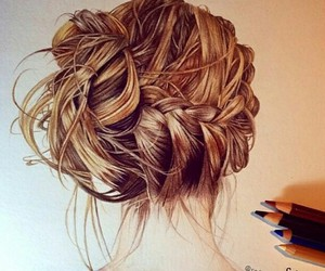 cute drawing, braid bun, and fabulous image