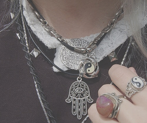 necklace, grunge, and rings image