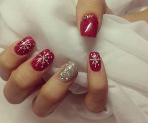 chrismas, nails, and red image
