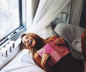 girl, smile, and book image
