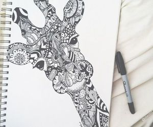 giraffe, drawing, and art image