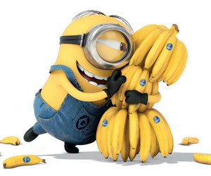 minions, banana, and yellow image