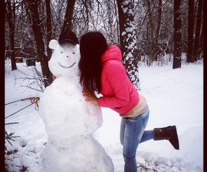 brunette, kiss, and winter image