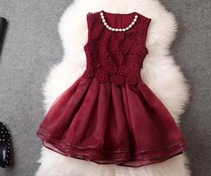 beautiful, dress, and dark red image