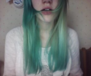 blue hair, green hair, and grunge image