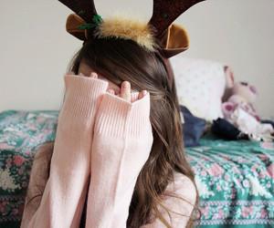 christmas, girl, and reindeer image