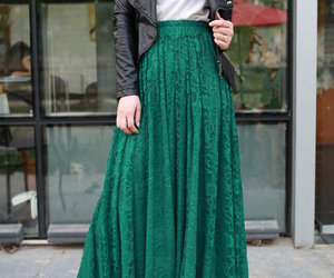 green, skirt, and jacket image
