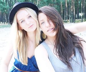 best friends, blond, and brunette image