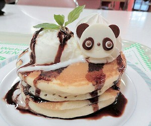 food, ice cream, and pancakes image