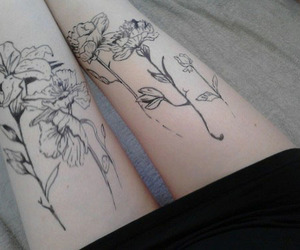 tattoo, flowers, and legs image